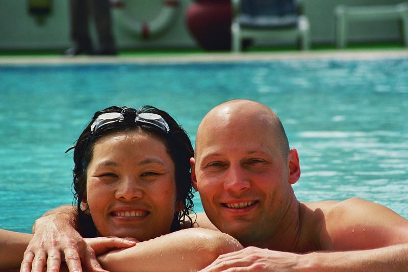 2004 April Hong Kong Mijung Rick pool.jpg