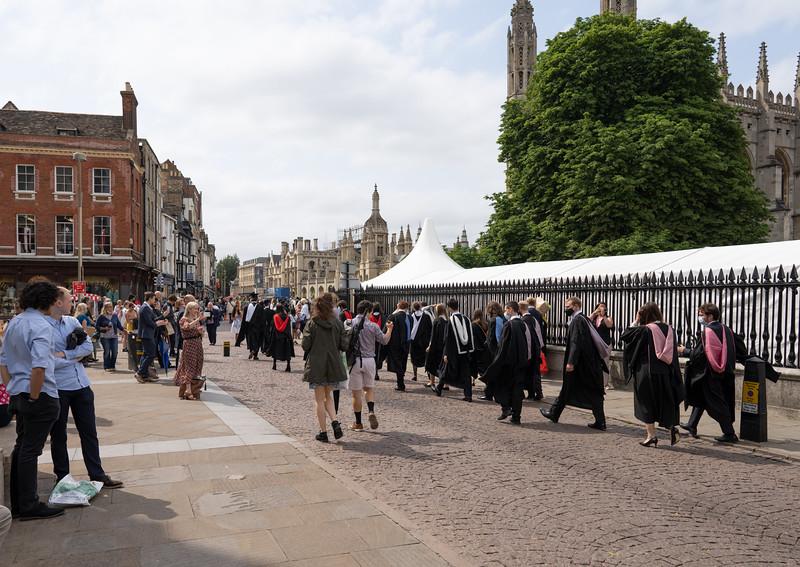 Degree Procession in King's Parade, Cambridge (Jul 2021)