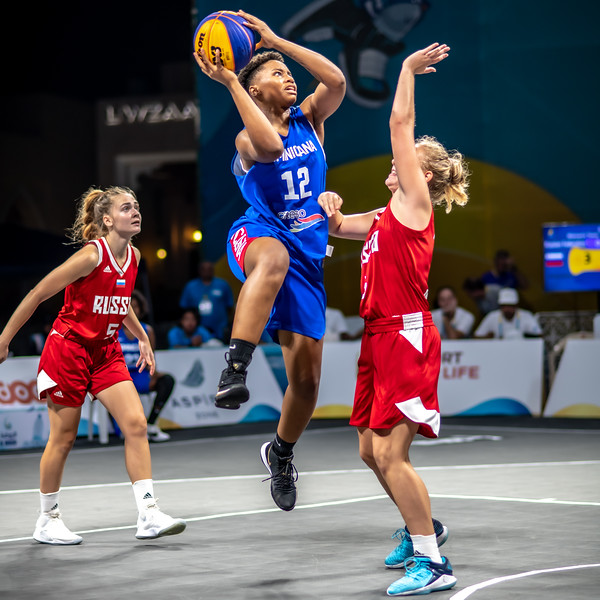 Dominican Republic and Russia in action during day one of the International 3x3 Basketball Tournament during the 1st ANOC World Beach Games at Katara on October 13, 2019 in Doha, Qatar. Photo by Tom Kirkwood/SportDXB