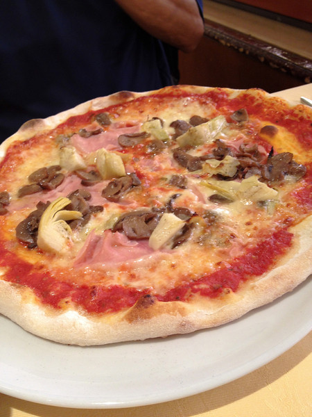 Artichoke, mushroom and ham pizza