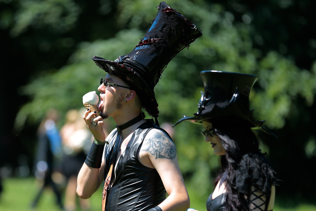 . Participants of the Wave Gothic Festival attend the \'Victorian Picnic\'  in Leipzig, central Germany, Friday, June 6, 2014.  (AP Photo/Markus Schreiber)