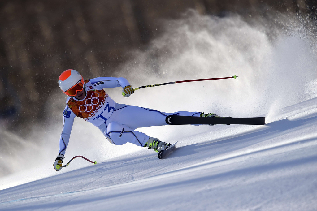 . Sweden\'s Kajsa Kling skis during the Women\'s Alpine Skiing Downhill at the Rosa Khutor Alpine Center during the Sochi Winter Olympics on February 12, 2014. AFP PHOTO / OLIVIER MORIN/AFP/Getty Images