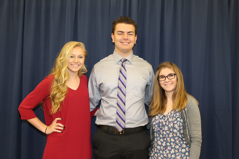 From left to right: Wallkill High School Valedictorian Linzy Dineen, Principal's Award recipient David Myszelow, and Salutatorian Josephine Rose.