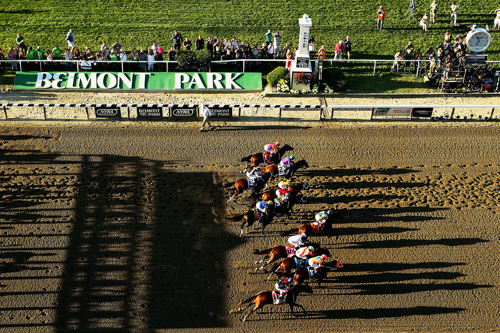 . ELMONT, NY - JUNE 07:  The field starts the 146th running of the Belmont Stakes at Belmont Park on June 7, 2014 in Elmont, New York.  (Photo by Al Bello/Getty Images)