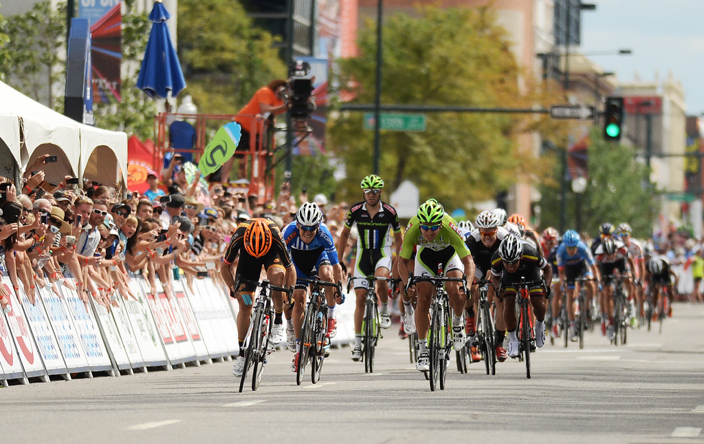 . Peter Sagan of the Cannondale Pro Cycling Team, front, won the 75-mile 7th stage of 2013 USA Pro Challenge race in Denver, Colorado on August 25, 2013. (Photo by Hyoung Chang/The Denver Post)