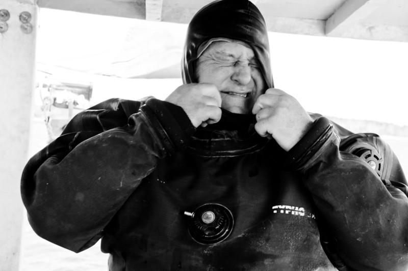 27. Diving for sea scallops in Casco Bay, Maine, March 2013.