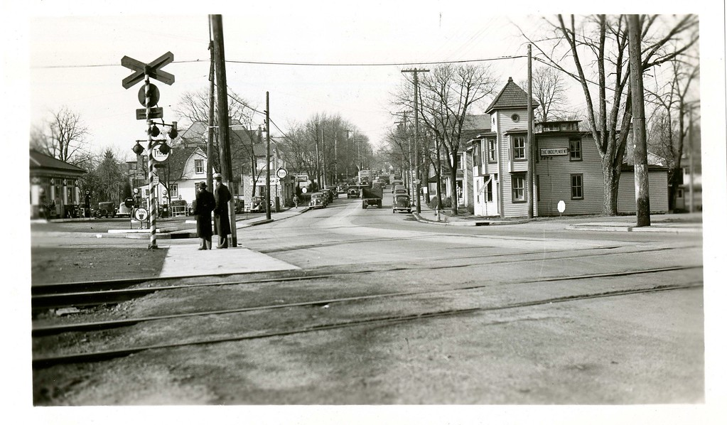 . This photo from the Historical Society of Montgomery County shows the railroad tracks in Collegeville, c. 1940.