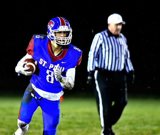 11/27/2019 Mike Orazzi | StaffrSt. Paul's Max Peruta (8) during Wednesday night's football game with Oxford in Bristol.