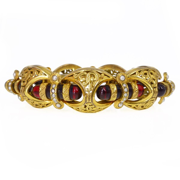 Vintage Art Deco Red Glass Filigree Gold Panel Pearl Set Bracelet