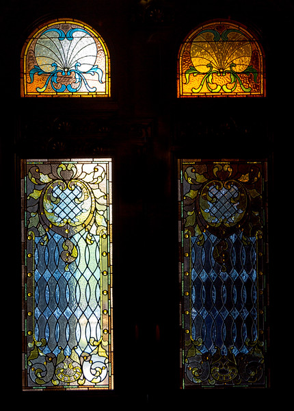 Stained glass windows in the Bishop's Palace doorway