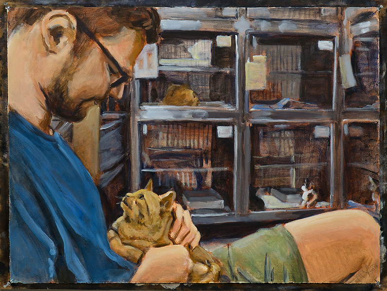 Man with Cat (version 1); acrylic on paper, 22 x 30 in, 2016