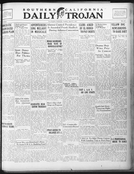 Daily Trojan, Vol. 22, No. 127, April 21, 1931