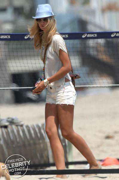 Lady Victoria Hervey Fashions Bikini Top With Dogs in Malibu, CA