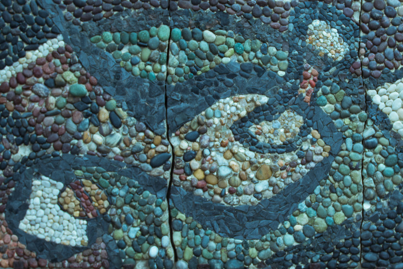 pablo neruda's residence in santiago - stone work in one of the small gardens