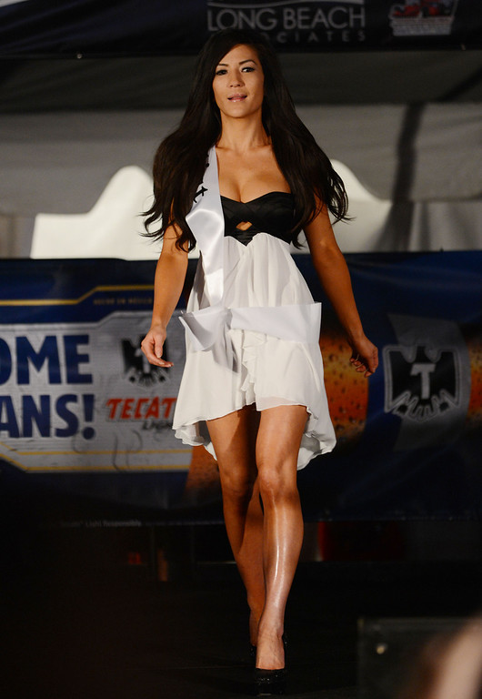. Long Beach, Calif., -- 04-18-13-  Finalist Jenny Yi During the 2013 Tecate Light Miss Toyota Grand Prix of Long Beach Thursday night on Pine Avenue at the Tecate Light Thunder Thursday on Pine.   Stephen Carr/  Los Angeles Newspaper Group