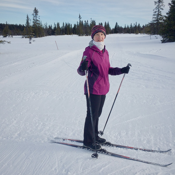 Ready to go: Jane skiing on the Hafjell plateau