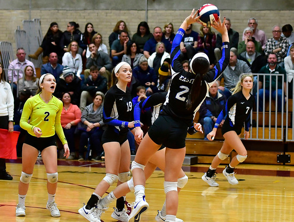 11/14/2018 Mike Orazzi | Staff Bristol Eastern's Aliana Rivoira (21) during the Class L Semifinal State Girls Volleyball Tournament with Woodstock Academy held at Windsor High School Wednesday night.