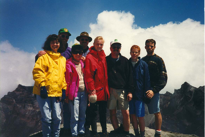 MOUNT ST HELENS GROUP SHOT - 1995 L to R: Kristin, Jack, Joyce, Tim, Heidi, me, Robin, and Dan