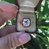 3.12ct Old European Cut Diamond Ruby Halo Ring, GIA L  8