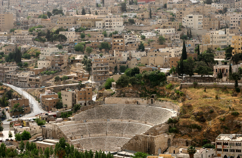 Amman - View of the Roman Theatre and surrounding buildings from the Citadel.