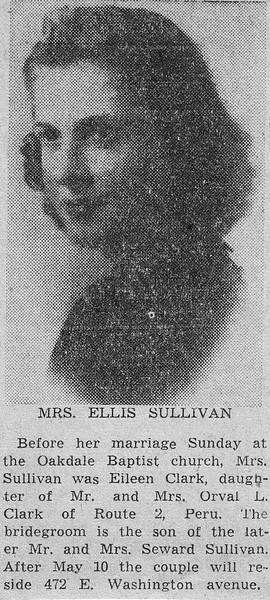 Newspaper clipping - 1947 - Eileen Clark's wedding announcement.jpg