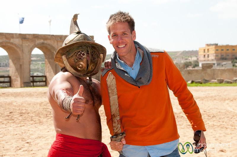 Cheesing it Up with a Gladiator - Jerash, Jordan