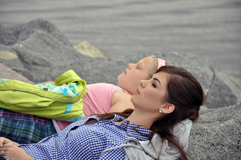 Scituate - Heather and Kathryn laying on the jetty.jpg