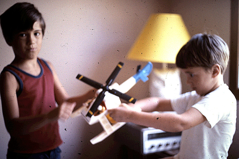 1975 - Randy & Jeff with toy helicopter