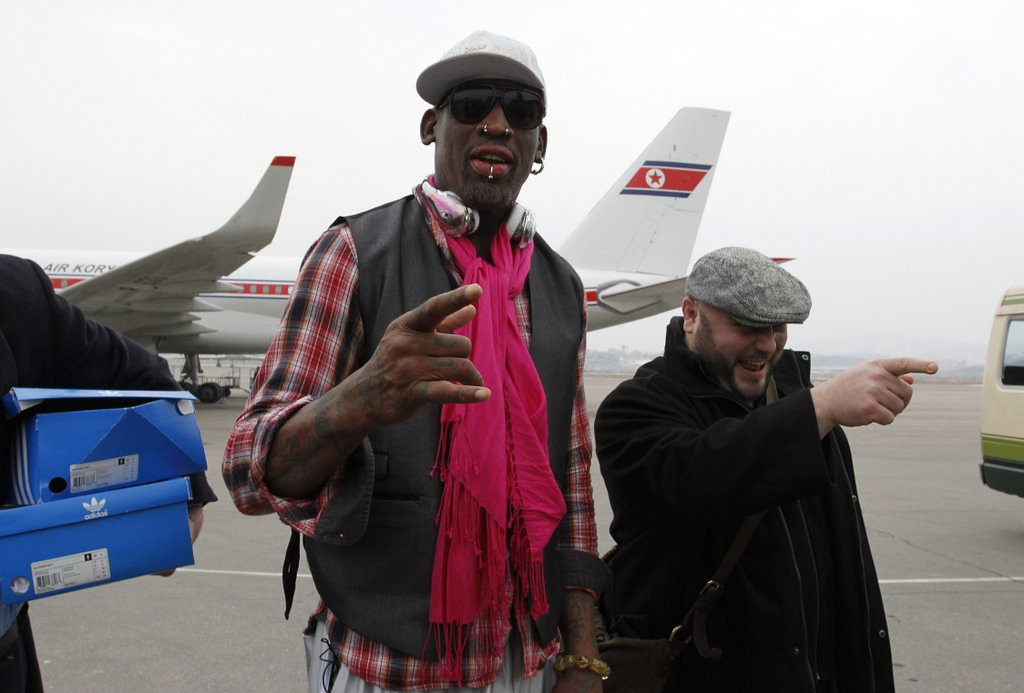". <p>4. DENNIS RODMAN <p>He�s what�s for dinner (if you�re one of Kim Jong Un�s killer dogs). (unranked) <p><b><a href=\'http://www.twincities.com/sports/ci_24853260/dennis-rodman-ex-nba-players-arrive-north-korea\' target=""_blank\""> HUH?</a></b> <p>    (AP Photo/Kim Kwang Hyon)"