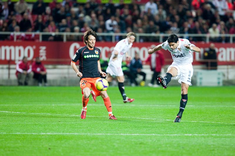 Renato shooting onto goal. Spanish Liga game between Sevilla FC and Valencia CF. Sanchez Pizjuan stadium, Seville, Spain, 31 January 2010