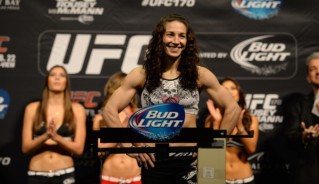 . Sara McMann during her weigh ins for UFC 170 at the Mandalay Bay Events Center in Las Vegas Friday, February 21, 2014. (Photo by Hans Gutknecht/Los Angeles Daily News)