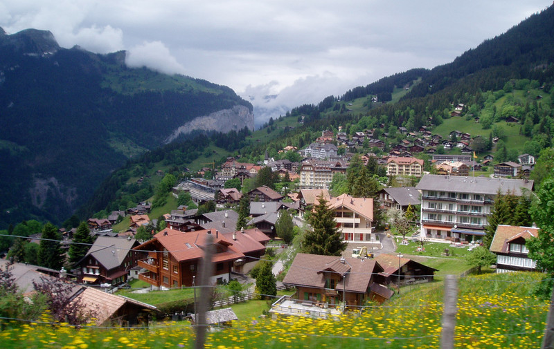 This was taken from the tram coming down to Interlaken in the Swiss Alps.