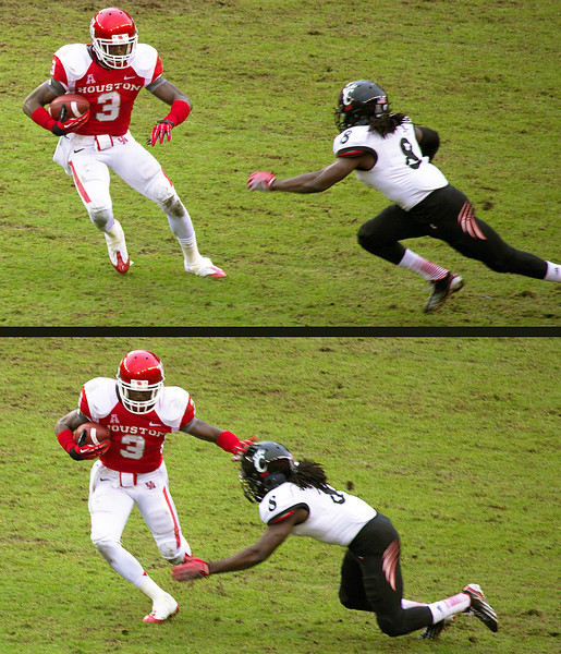 Witty tries to tackle UH's Greenberry.