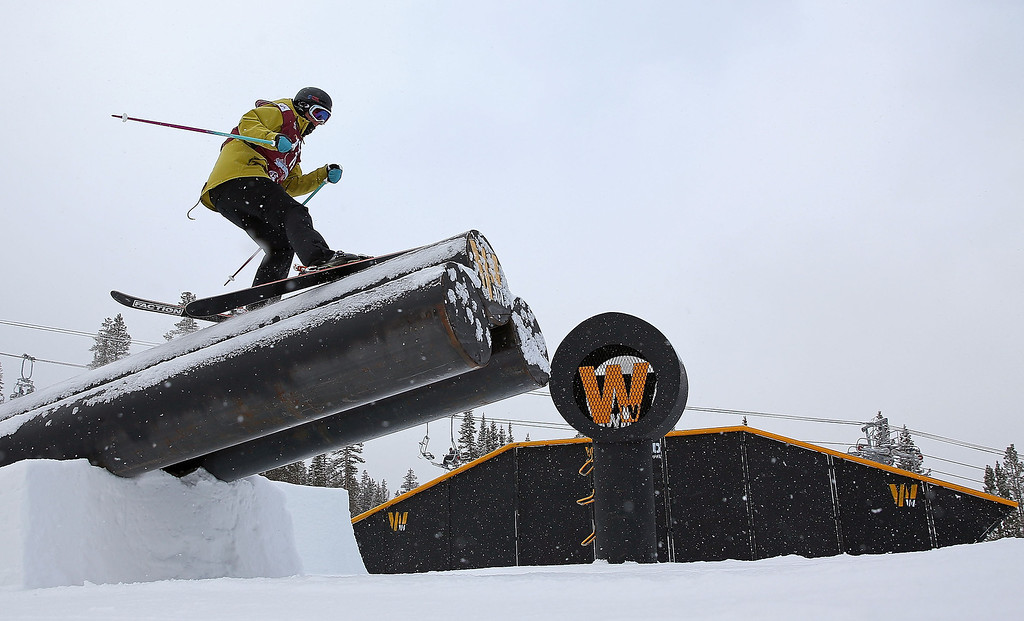 . Megan Olenick competes during qualifying for the women\'s FIS Ski Slopestyle World Cup at U.S. Snowboarding and Freeskiing Grand Prix on December 20, 2013 in Copper Mountain, Colorado.  (Photo by Mike Ehrmann/Getty Images)