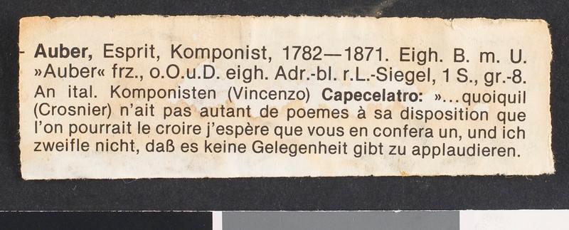 Jacques Aubert, letter, [s.d.], to Nincenzo Capecelatro