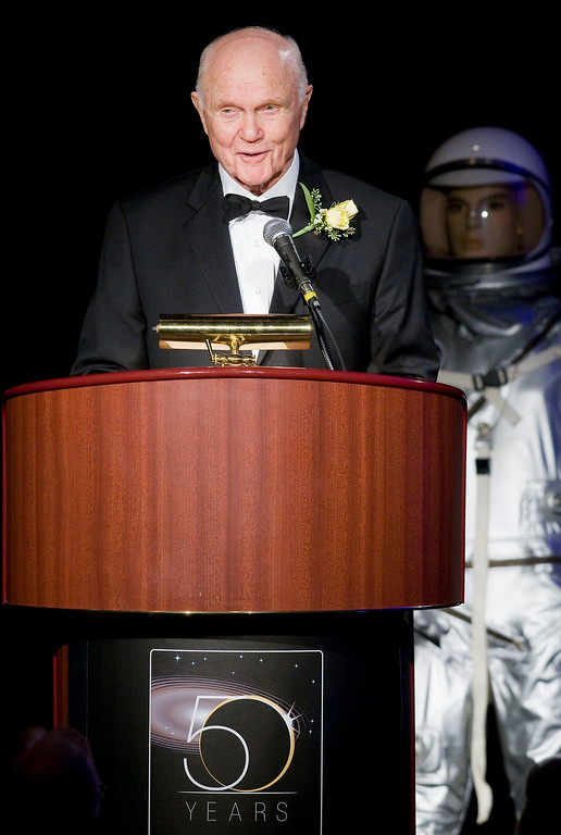 . John Glenn Jr., the first American to orbit Earth and former Ohio Senator at a historic gathering of 19 of the astronauts who call Ohio home on Friday, Aug. 29, 2008 in Cleveland.. The gathering of Ohio astronauts is part of NASA\'s 50th Anniversary celebration. (AP Photo/Jason Miller)