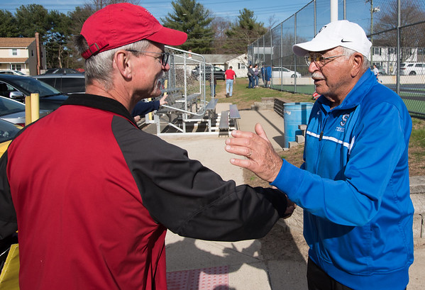 04/17/19 Wesley Bunnell | Staff Southington boys tennis hosted Berlin on Wednesday afternoon at Southington High School. Berlin Head Coach Michael Flannery and Southington Head Coach Tony Mauro.