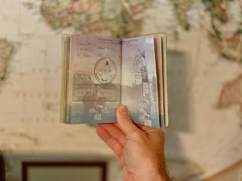Passport with Antarctica stamp