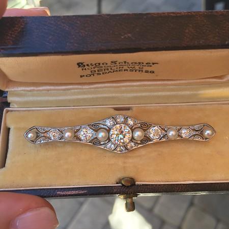 2.62ctw (est) Edwardian Diamond & Pearl Brooch