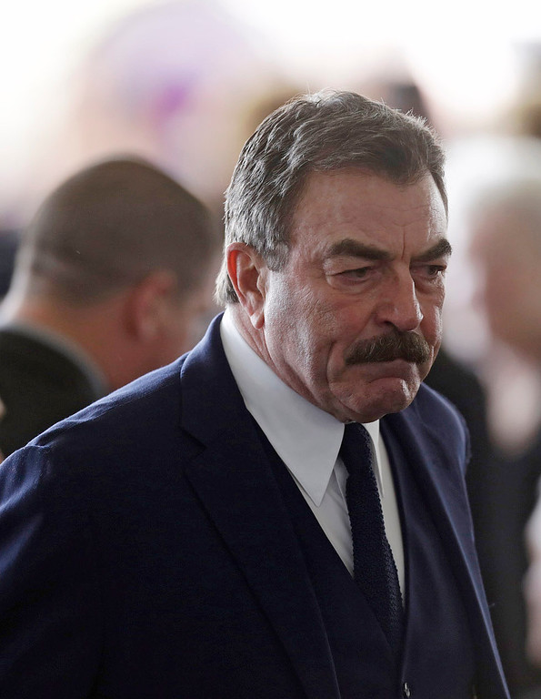 . Actor Tom Selleck arrives for funeral services on March 11, 2016 for former First Lady Nancy Reagan at the Ronald Reagan Presidential Library in Simi Valley, California. Nancy Reagan will be buried next to her husband on the property.  / AFP PHOTO / POOL / Irfan KhanIRFAN KHAN/AFP/Getty Images