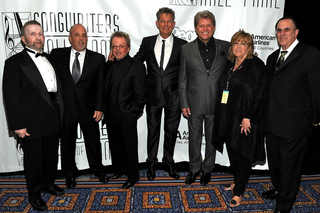 . (L-R) Johnny Mandel, Billy Joel, Paul Williams, David Foster, Peter Cetera, President of Songwriters Hall of Fame Linda Moran and John LoFrumento ASCAP attends the 41st Annual Songwriters Hall of Fame Ceremony at The New York Marriott Marquis on June 17, 2010 in New York City. (Photo by Larry Busacca/Getty Images North America)