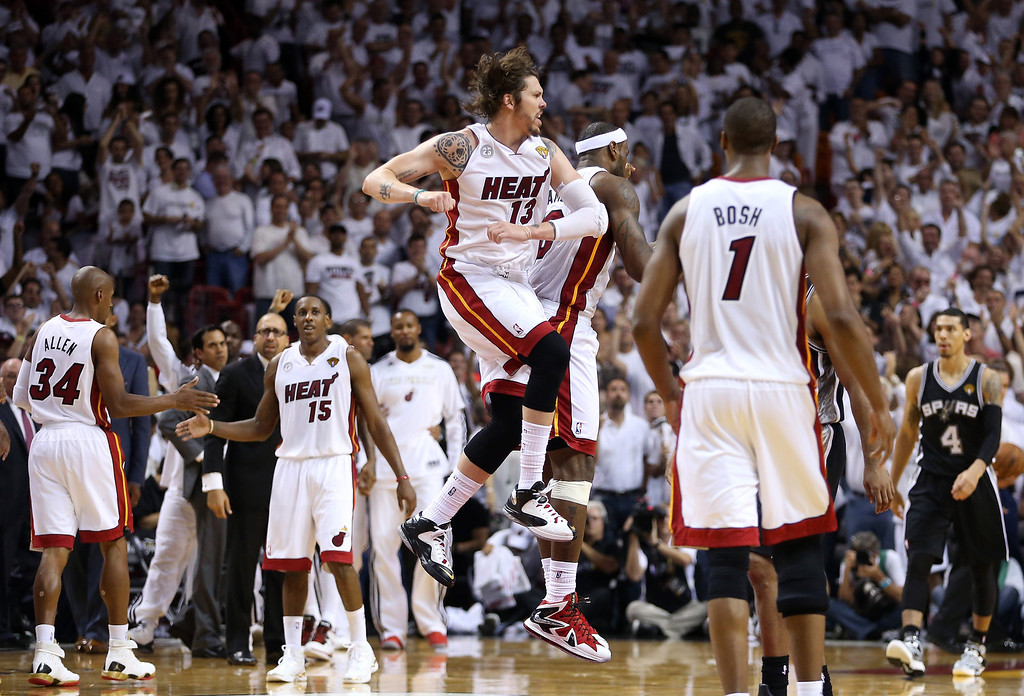 . MIAMI, FL - JUNE 09:  Mike Miller #13 and LeBron James #6 of the Miami Heat celebrate while taking on the San Antonio Spurs in the fourth quarter during Game Two of the 2013 NBA Finals at AmericanAirlines Arena on June 9, 2013 in Miami, Florida.    (Photo by Christian Petersen/Getty Images)