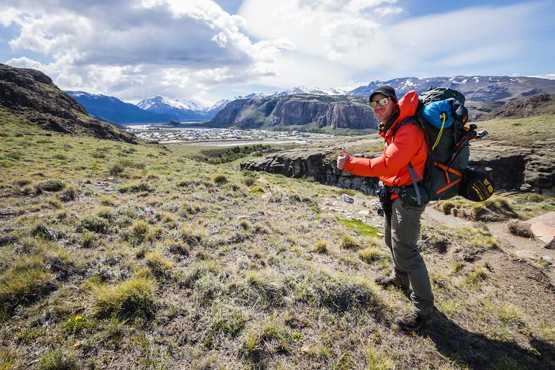 David Stock hiking near El Chalten, Patagonia