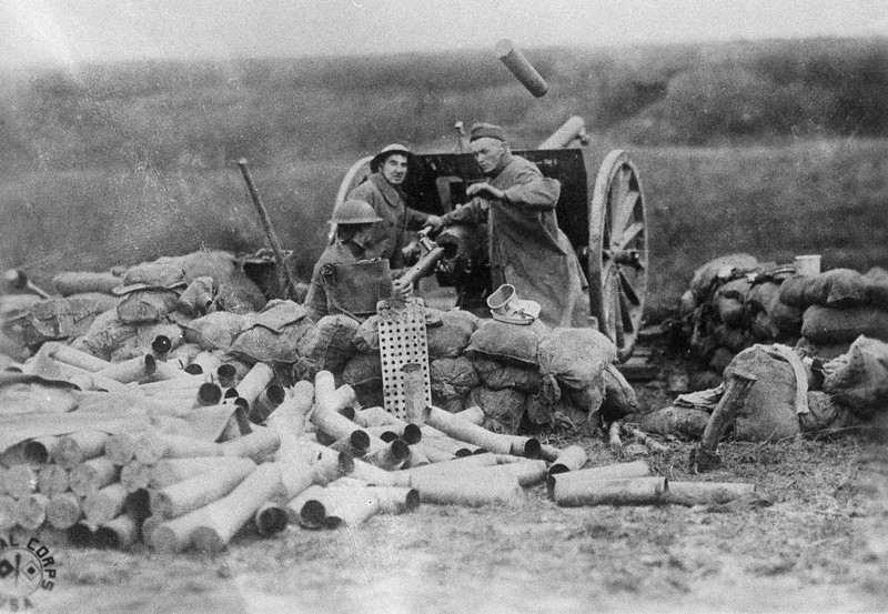". Battery ""C\"", Sixth F.A., 1st Division which fired the first cannon shot from the U.S. on the Lorraine, France front at Beaumont during the Great War, are pictured Sept. 12, 1918. (AP Photo)"