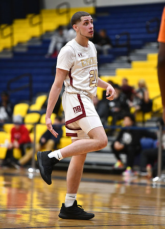12/21/2019 Mike Orazzi | StafrNew Britain's Nyzaiah Diaz (21) during the GHPA High School Basketball Classic at Trinity College on Saturday.