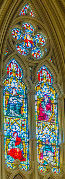 Chancel windows left side - Four prophets <br> glass by Franz Meyer, Munich