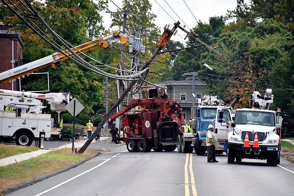 10/2/2019 Mike Orazzi | StaffrA utility pole that was partially pulled down after a truck hit low hanging wires Wednesday morning is expected to keep part of Stafford Avenue closed for several hours. rPolice said the accident was reported around 9:22 a.m. rEversource crews have responded to make repairs to the wires and utility pole. This is expected to last several hours, and motorists have been asked to avoid the area.