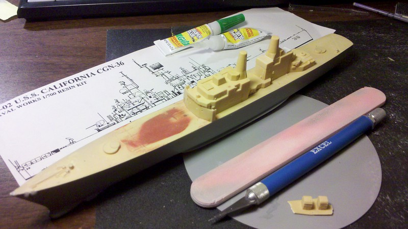120325: CGN-37 Superstructure parts sanded flat, cleaned up, and detailed