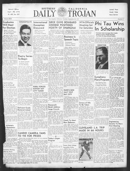 Daily Trojan, Vol. 29, No. 8, September 28, 1937