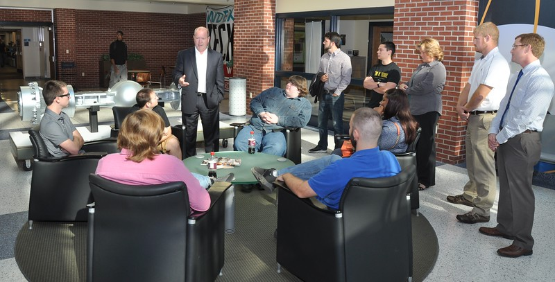 U.S. Representative Larry Bucshon talks with Purdue Poltechnic Vincennes students on Oct. 26..JPG